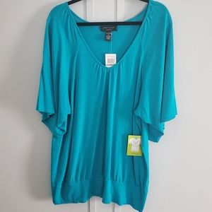 NWT Cable & Gauge Teal V Neck Top
